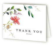 This is a pink bridal shower thank you card by Mere Paper called Spring Wildflowers with standard printing on strathmore in standard.