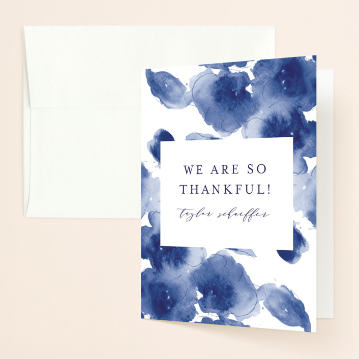 """Cornflower Wedding"" - Bridal Shower Thank You Cards in Periwinkle by Chris Griffith."
