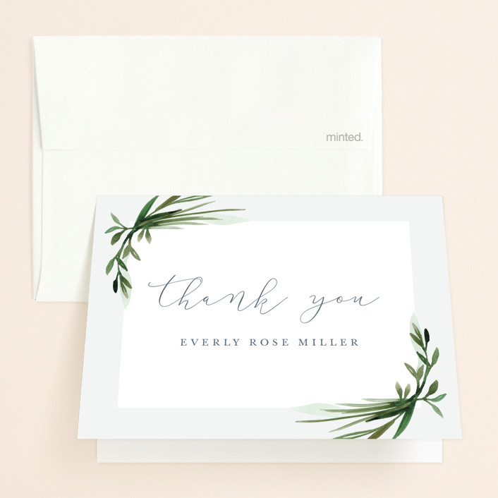 """Botanical Frame"" - Bridal Shower Thank You Cards in Fern by Kate Ahn."