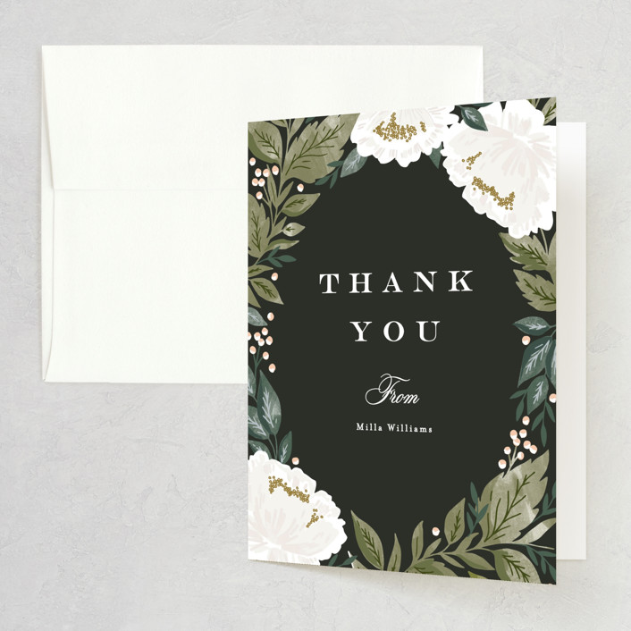 """Peony Floral Frame"" - Bridal Shower Thank You Cards in Cornflower by Alethea and Ruth."