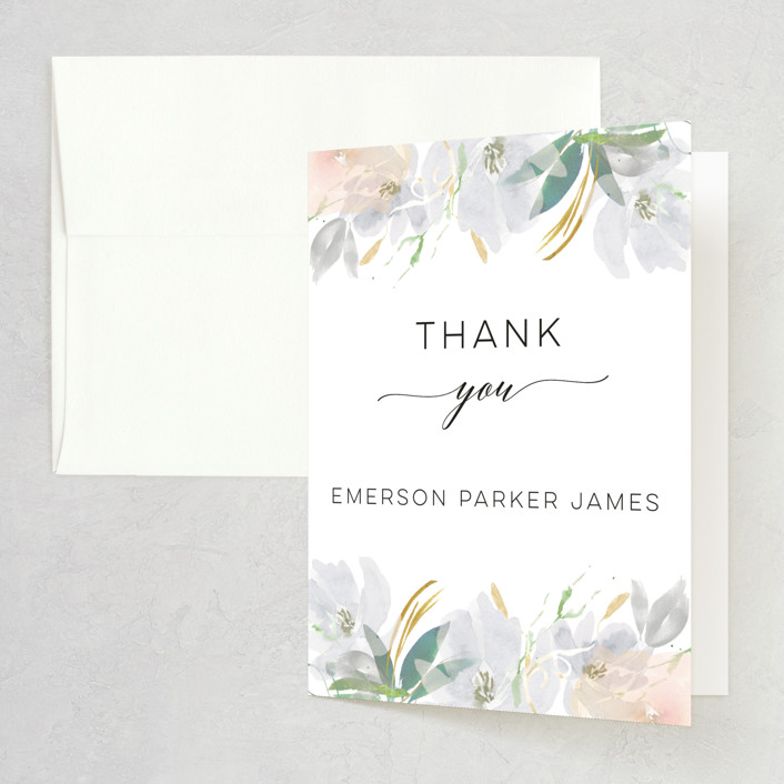 """Grande Botanique"" - Bridal Shower Thank You Cards in Mist by Bonjour Paper."