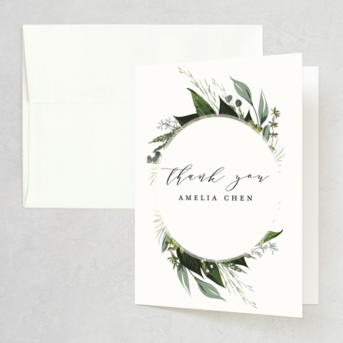 """""""Natures Greens"""" - Bridal Shower Thank You Cards in Ivory by Susan Moyal."""