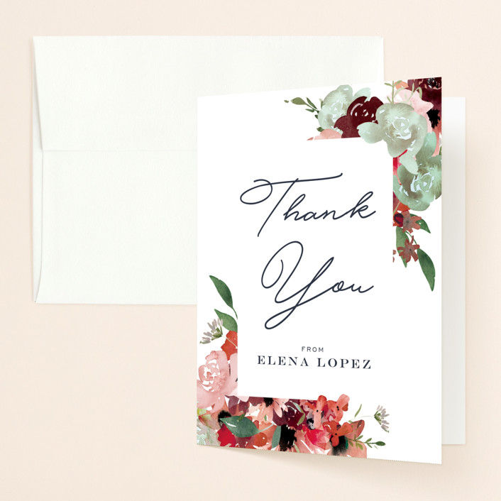 """Cascading Florals"" - Bridal Shower Thank You Cards in Rouge by Leah Bisch."