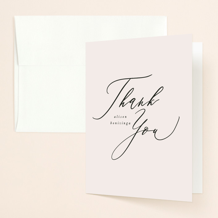 """Timeless"" - Bridal Shower Thank You Cards in Taupe by Leah Bisch."