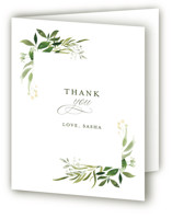 This is a green bridal shower thank you card by Leah Bisch called Verdure with standard printing on strathmore in standard.