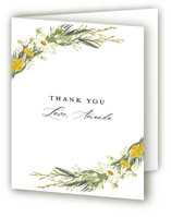 This is a yellow bridal shower thank you card by Susan Moyal called Organic Florals with standard printing on strathmore in standard.