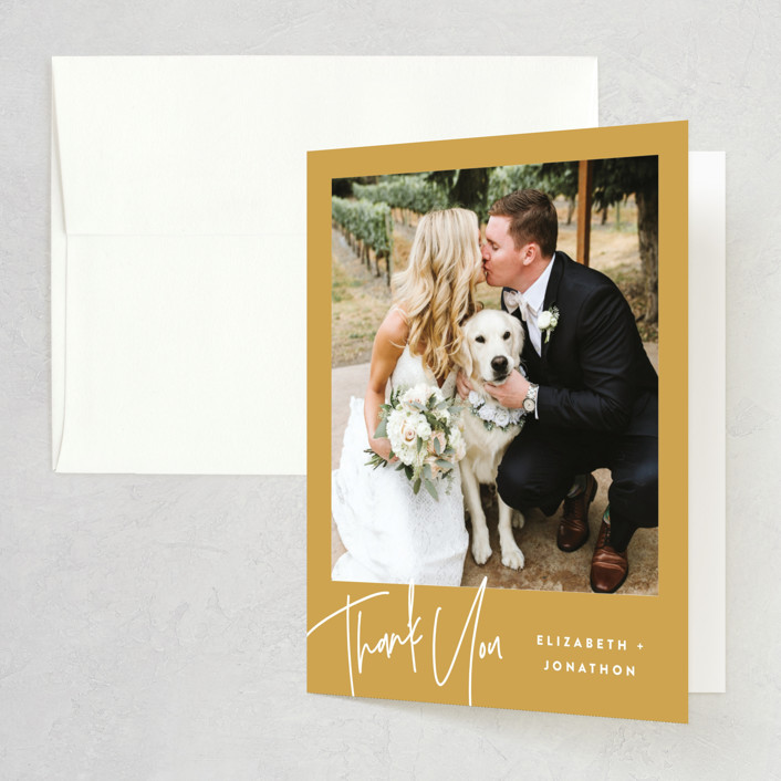 """""""Marked"""" - Bridal Shower Thank You Cards in Mustard by JoAnn Jinks."""