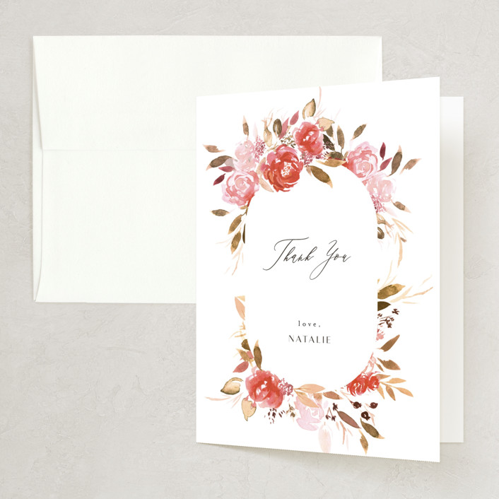 """""""Cascading"""" - Bridal Shower Thank You Cards in Cardinal by Itsy Belle Studio."""