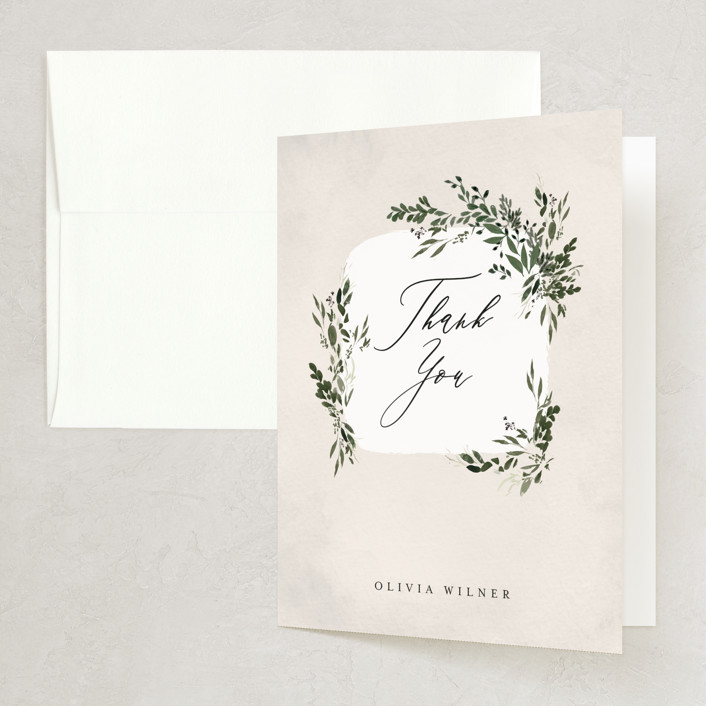 """""""Greenery"""" - Bridal Shower Thank You Cards in Forest by Itsy Belle Studio."""