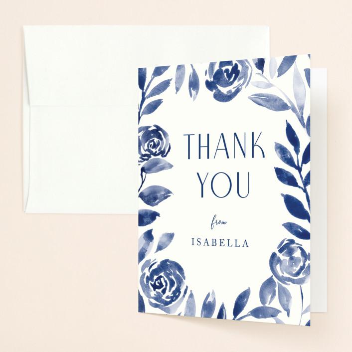 """Romantic garden"" - Bridal Shower Thank You Cards in Indigo by Yaling Hou Suzuki."