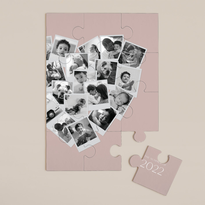 """""""Collage Heart"""" - 12 Piece Custom Puzzle in Mauve by Minted."""