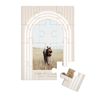 This is a beige custom puzzle by Baumbirdy called Retro Stripes printing on signature in standard.