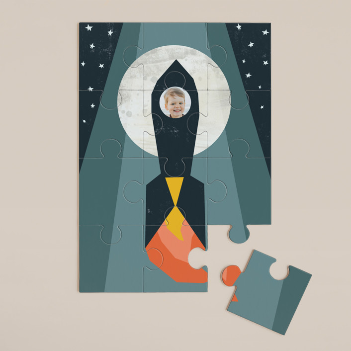 """""""Rocket to the Moon"""" - Whimsical & Funny 12 Piece Custom Puzzle in Midnight Blue by Morgan Kendall."""