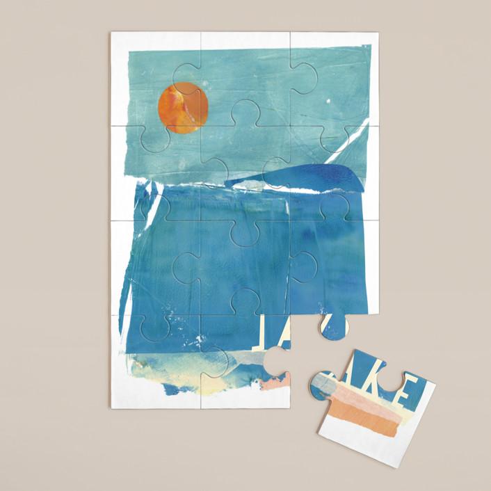 """Night Swim"" - Whimsical & Funny 12 Piece Custom Puzzle in Aqua by sue prue."