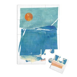 This is a blue custom puzzle by sue prue called Night Swim printing on signature.