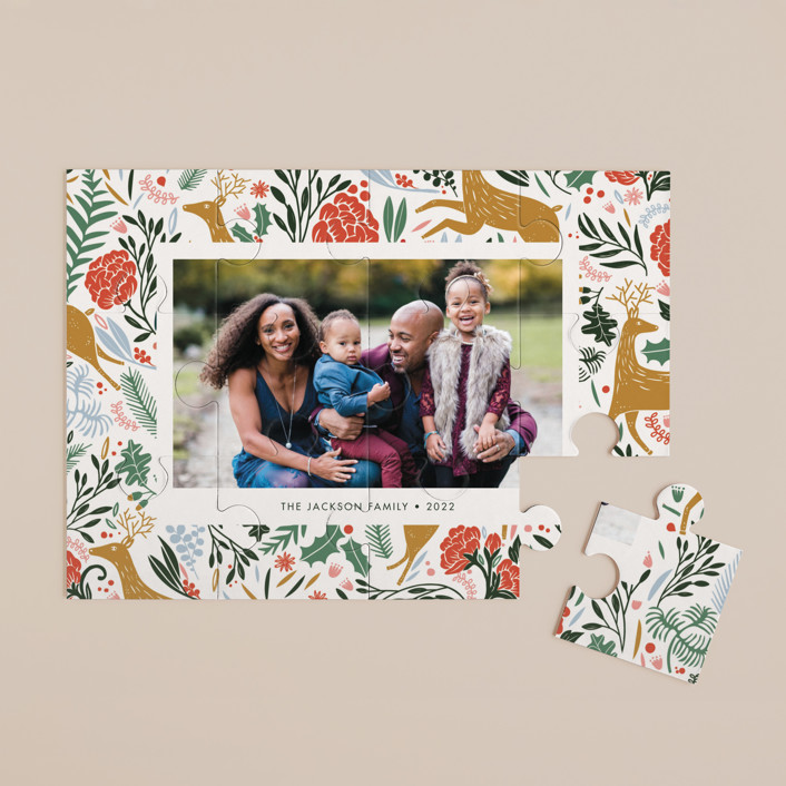 """""""Holiday Forest Photo"""" - Modern, Whimsical & Funny 12 Piece Custom Puzzle in Jour by Made by Mosa."""