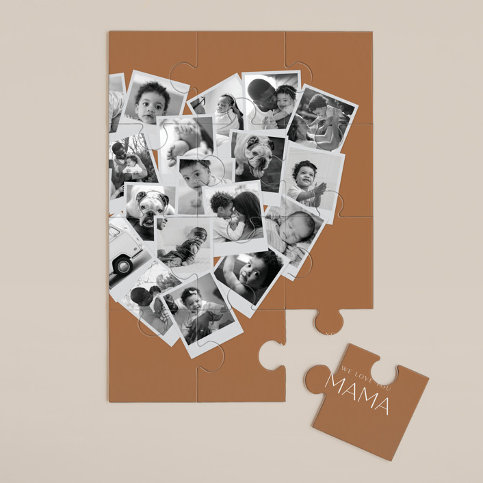 """""""Mama Collage Heart"""" - Modern 12 Piece Custom Puzzle in Spice by Minted."""