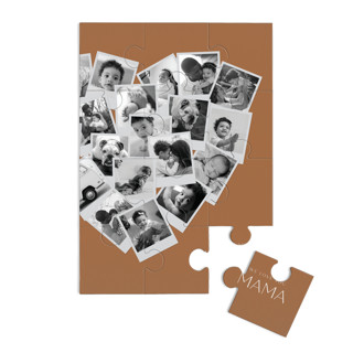 This is a orange custom puzzle by Minted called Mama Collage Heart printing on signature in standard.