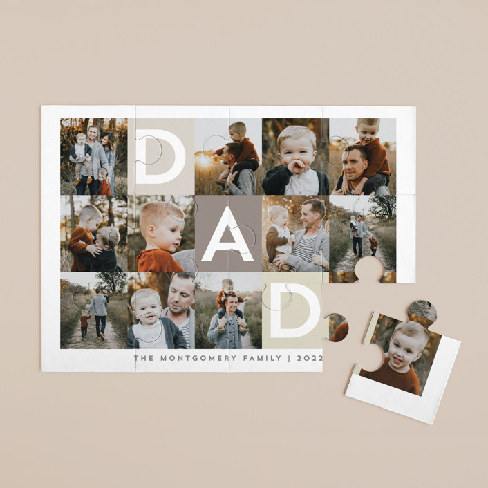"""""""Best Dad Ever Boxes"""" - 12 Piece Custom Puzzle in Taupe by Alethea and Ruth."""