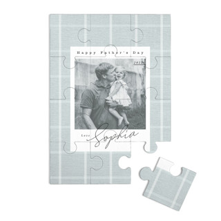 This is a blue custom puzzle by Danie Romrell called Farmhouse Plaid printing on signature in standard.