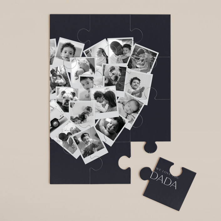 """""""Dada Collage Heart"""" - Modern 12 Piece Custom Puzzle in Navy by Minted."""