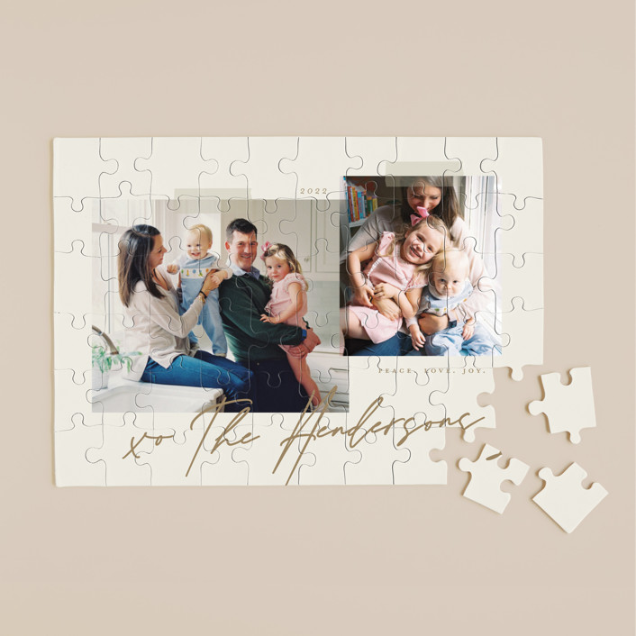 """""""Snapshots"""" - 60 Piece Custom Puzzle in Wheat by That Girl Press."""