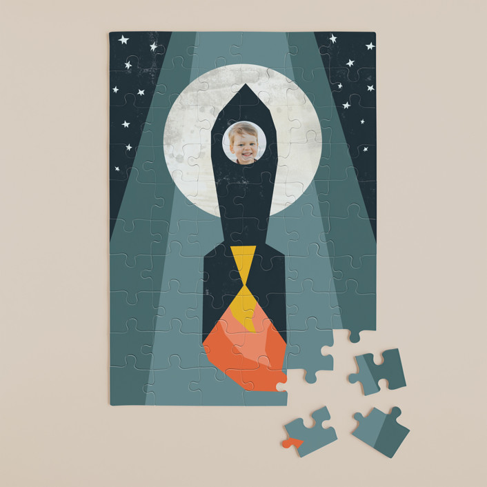 """""""Rocket to the Moon"""" - Whimsical & Funny 60 Piece Custom Puzzle in Midnight Blue by Morgan Kendall."""