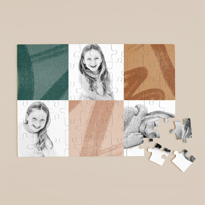 """""""Modern Squares"""" - Modern 60 Piece Custom Puzzle in Balsam Fir by Oscar and Emma - Karly Depew."""