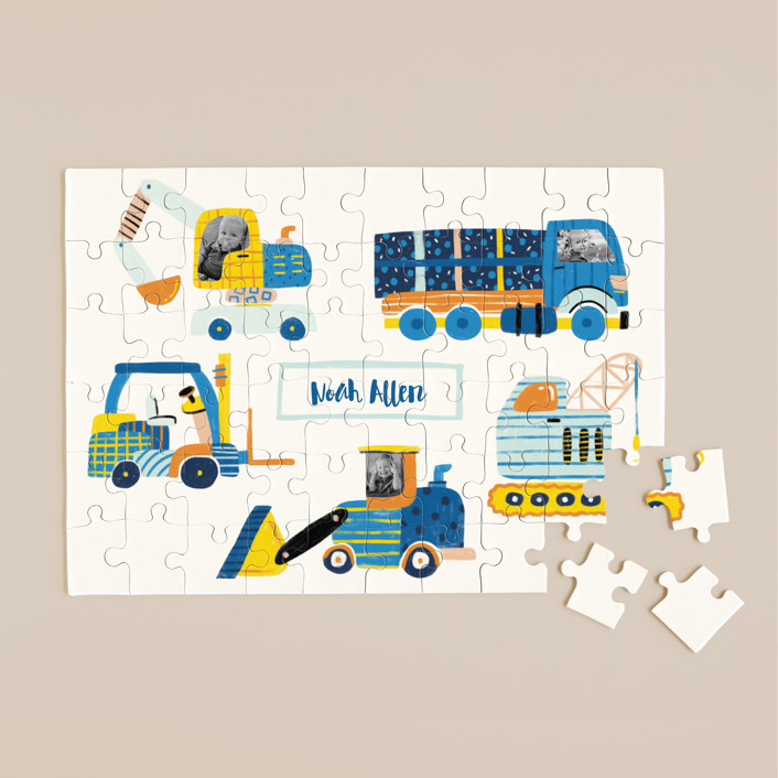 """Super truck"" - Whimsical & Funny 60 Piece Custom Puzzle in Periwinkle by kartika paramita."