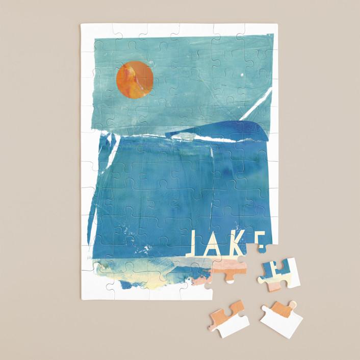 """Night Swim"" - Whimsical & Funny 60 Piece Custom Puzzle in Aqua by sue prue."