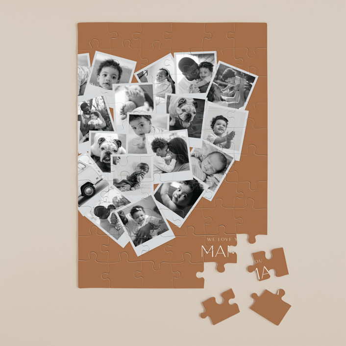 """""""Mama Collage Heart"""" - Modern 60 Piece Custom Puzzle in Spice by Minted."""