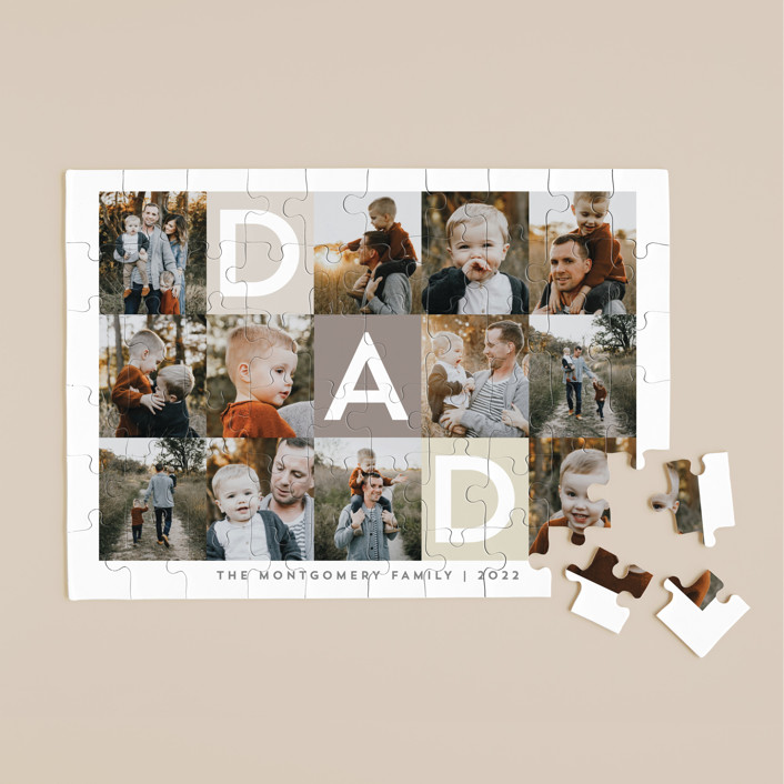 """""""Best Dad Ever Boxes"""" - 60 Piece Custom Puzzle in Taupe by Alethea and Ruth."""