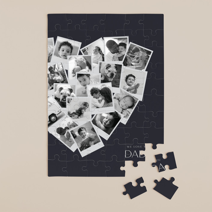 """""""Dada Collage Heart"""" - Modern 60 Piece Custom Puzzle in Navy by Minted."""