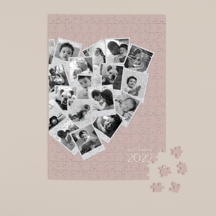 """Collage Heart"" - 252 Piece Custom Puzzle in Mauve by Minted."