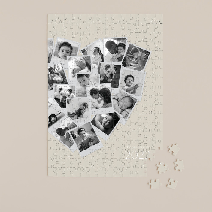 """""""Collage Heart"""" - 252 Piece Custom Puzzle in Mauve by Minted."""