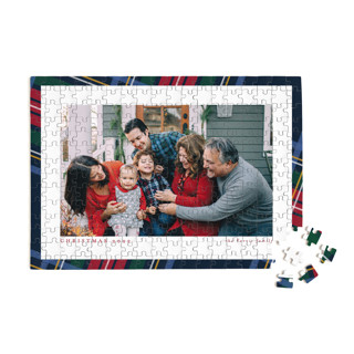 This is a blue custom puzzle by Lea Delaveris called Plaid Framed printing on signature.