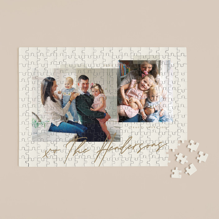 """""""Snapshots"""" - 252 Piece Custom Puzzle in Wheat by That Girl Press."""