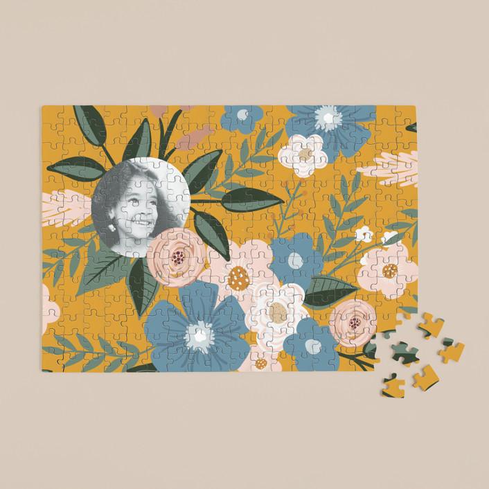 """Vintage Floral"" - 252 Piece Custom Puzzle in Mustard by Juliana Zimmermann."