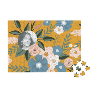 This is a yellow custom puzzle by Juliana Zimmermann called Vintage Floral printing on signature in standard.