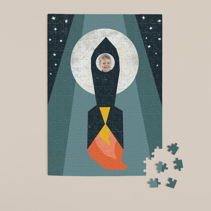 """""""Rocket to the Moon"""" - Whimsical & Funny 252 Piece Custom Puzzle in Midnight Blue by Morgan Kendall."""