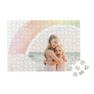 This is a pink custom puzzle by Lori Wemple called Pretty Rainbow printing on signature in standard.
