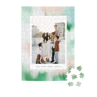 This is a green custom puzzle by Ilze Lucero called Fresh and Sparkle printing on signature in standard.
