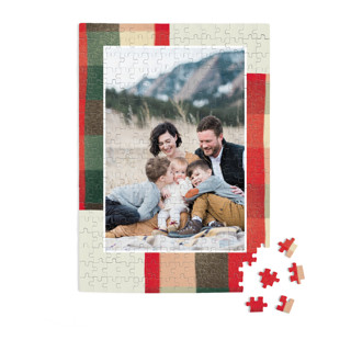 This is a red custom puzzle by Keen Peachy called Warm Flannel printing on signature.