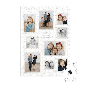 This is a grey custom puzzle by Hooray Creative called Modern Snapshots printing on signature in standard.