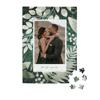 This is a green custom puzzle by Snow and Ivy called Moody Greens printing on signature.