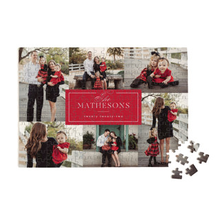This is a red custom puzzle by Kelly Schmidt called Formal Name printing on signature.