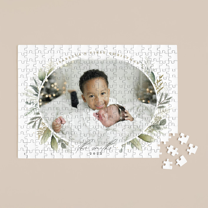"""""""Soft Greenery"""" - 252 Piece Custom Puzzle in Almond by Susan Moyal."""