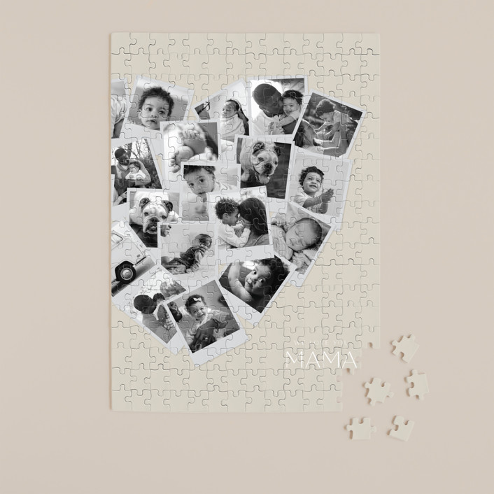 """""""Mama Collage Heart"""" - Modern 252 Piece Custom Puzzle in Spice by Minted."""