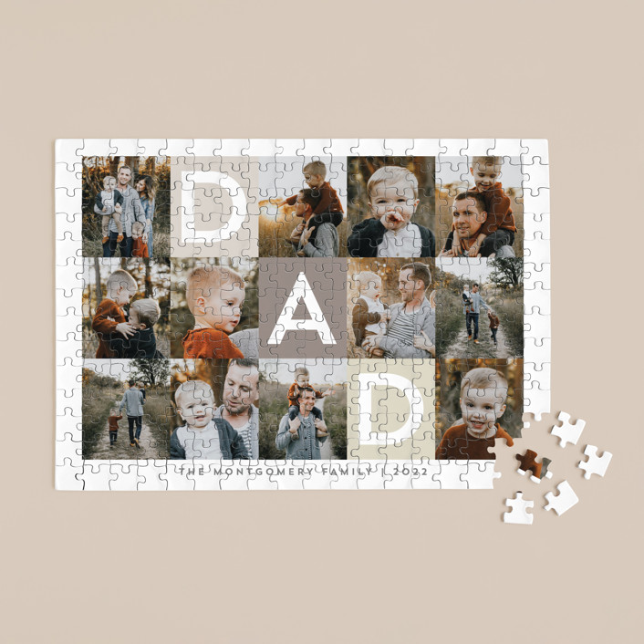"""""""Best Dad Ever Boxes"""" - 252 Piece Custom Puzzle in Taupe by Alethea and Ruth."""