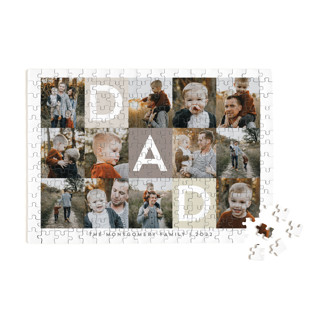 This is a beige custom puzzle by Alethea and Ruth called Best Dad Ever Boxes printing on signature in standard.